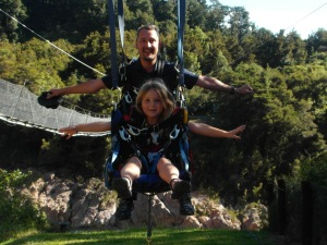 J and Z on Buller Canyon Swing - whereas I had been left paralyzed with vertigo on  the other side of the longest swing bridge in NZ