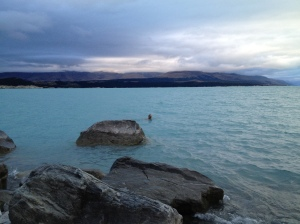 Swimming in Lake Pukaki