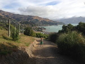 Walking to dinner in Akoroa - Banks Peninsula