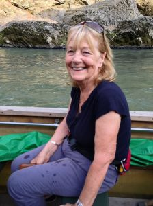 Jonathan's mum, Mary, is all smiles on the river