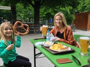 Beer and pretzels in Englischer Garten, Munich