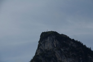 Cross on hilltop above Oberammergau