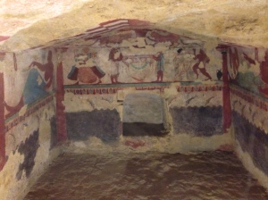 Etruscan tomb paintings over 2000 years old