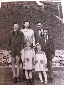 My mom (girl on left) and her family in Grossraming, Austria