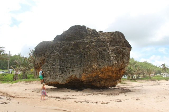 Beach boulders on the East Coast - this one has a bench on top but we didn't find an easy route up